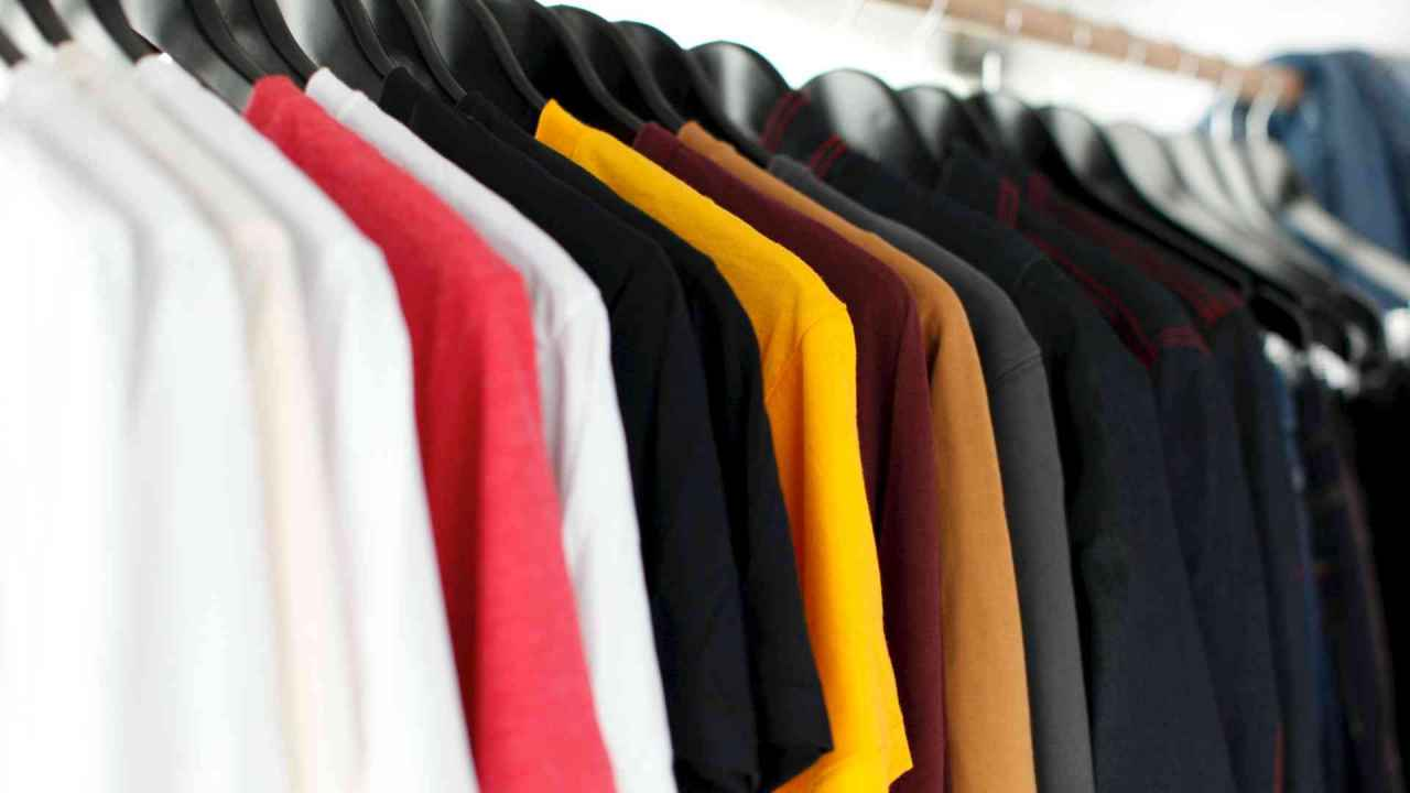 Uniform clothes on rack